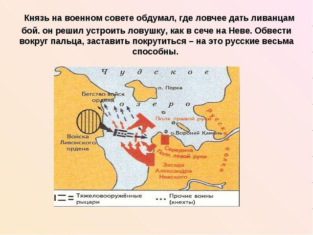 Князь на военном совете обдумал, где ловчее дать ливанцам бой. он решил устр...