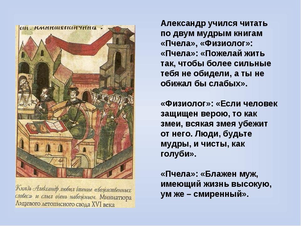 Александр учился читать по двум мудрым книгам «Пчела», «Физиолог»: «Пчела»: «...