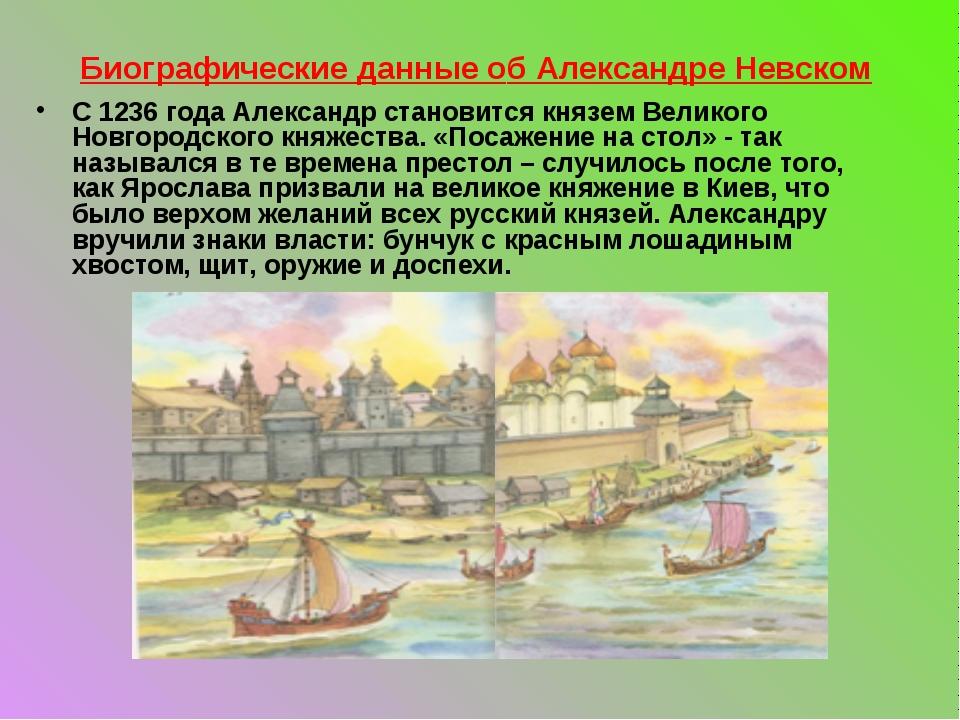Биографические данные об Александре Невском С 1236 года Александр становится...