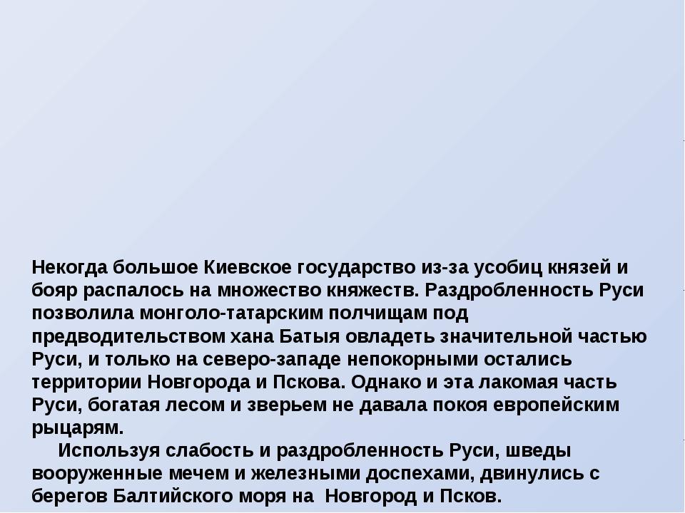 Некогда большое Киевское государство из-за усобиц князей и бояр распалось на...