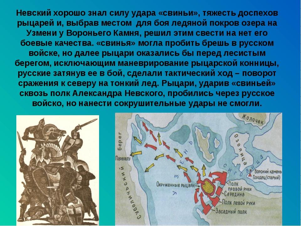 Невский хорошо знал силу удара «свиньи», тяжесть доспехов рыцарей и, выбрав м...