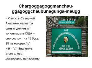 Chargoggagoggmanchauggagoggchaubunagungamaugg Озеро в Северной Америке- явл
