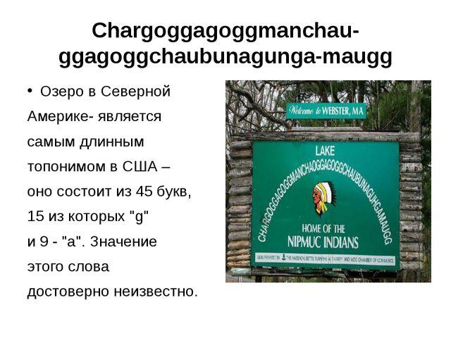Chargoggagoggmanchauggagoggchaubunagungamaugg Озеро в Северной Америке- явл...