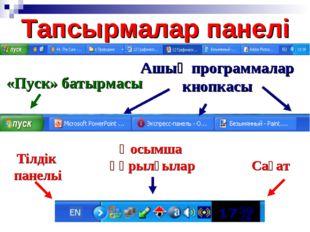 Тапсырмалар панелі «Пуск» батырмасы Ашық программалар кнопкасы Тілдік панельі