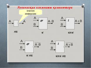 Логические элементы компьютера НЕ И ИЛИ ИЛИ-НЕ И-НЕ значок инверсии