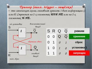 Триггер (англ. trigger – защёлка) – это логическая схема, способная хранить 1