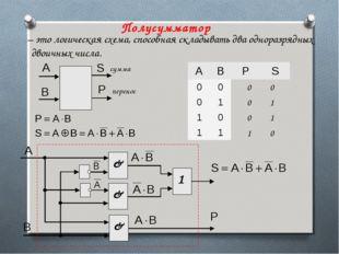 Полусумматор – это логическая схема, способная складывать два одноразрядных д
