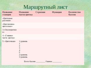 Маршрутный лист Название станцииНазвание части цветкаСтроение Функции Кол
