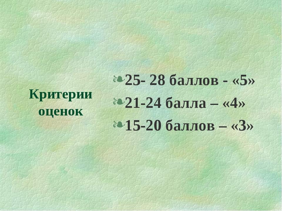Критерии оценок 25- 28 баллов - «5» 21-24 балла – «4» 15-20 баллов – «3»