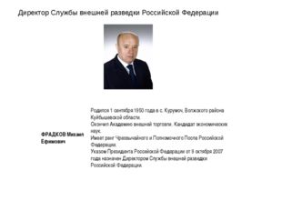 Директор Службы внешней разведки Российской Федерации ФРАДКОВ Михаил Ефимович
