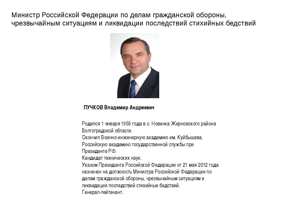 Министр Российской Федерации по делам гражданской обороны, чрезвычайным ситуа...