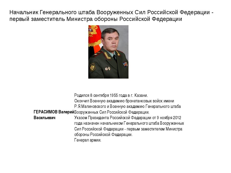 Начальник Генерального штаба Вооруженных Сил Российской Федерации - первый за...