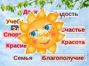 Здоровье Счастье Радость Спорт Красота Благополучие Учеба Дети Семья Красивая