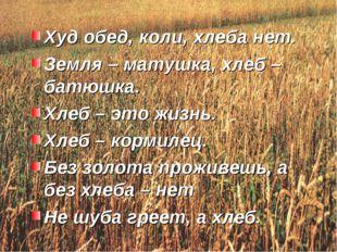 Худ обед, коли, хлеба нет. Земля – матушка, хлеб – батюшка. Хлеб – это жизнь.