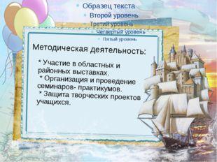 Методическая деятельность: * Участие в областных и районных выставках. * Орга