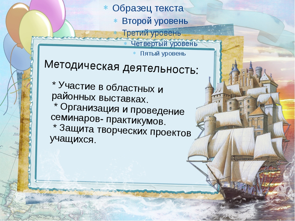 Методическая деятельность: * Участие в областных и районных выставках. * Орга...