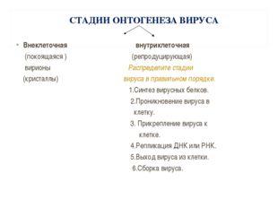 СТАДИИ ОНТОГЕНЕЗА ВИРУСА Внеклеточная внутриклеточная (покоящаяся ) (репроду
