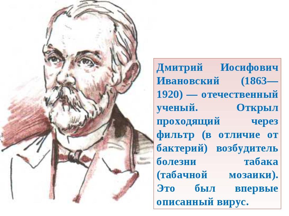 Дмитрий Иосифович Ивановский (1863—1920) — отечественный ученый. Открыл прох...