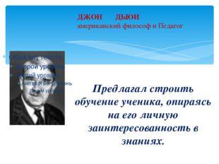 ДЖОН ДЬЮИ американский философ и Педагог Предлагал строить обучение ученика,