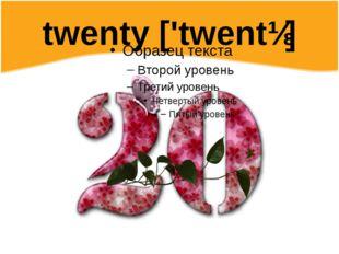 twenty ['twentɪ]