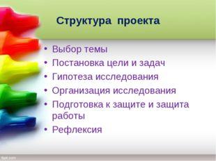 Структура проекта Выбор темы Постановка цели и задач Гипотеза исследования Ор