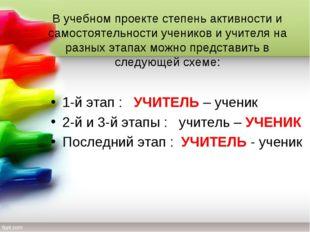 В учебном проекте степень активности и самостоятельности учеников и учителя н