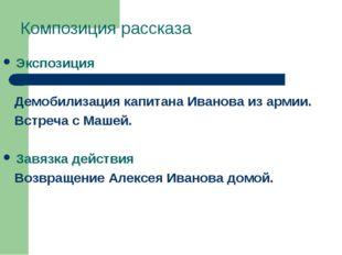 Композиция рассказа Экспозиция Демобилизация капитана Иванова из армии. Встре