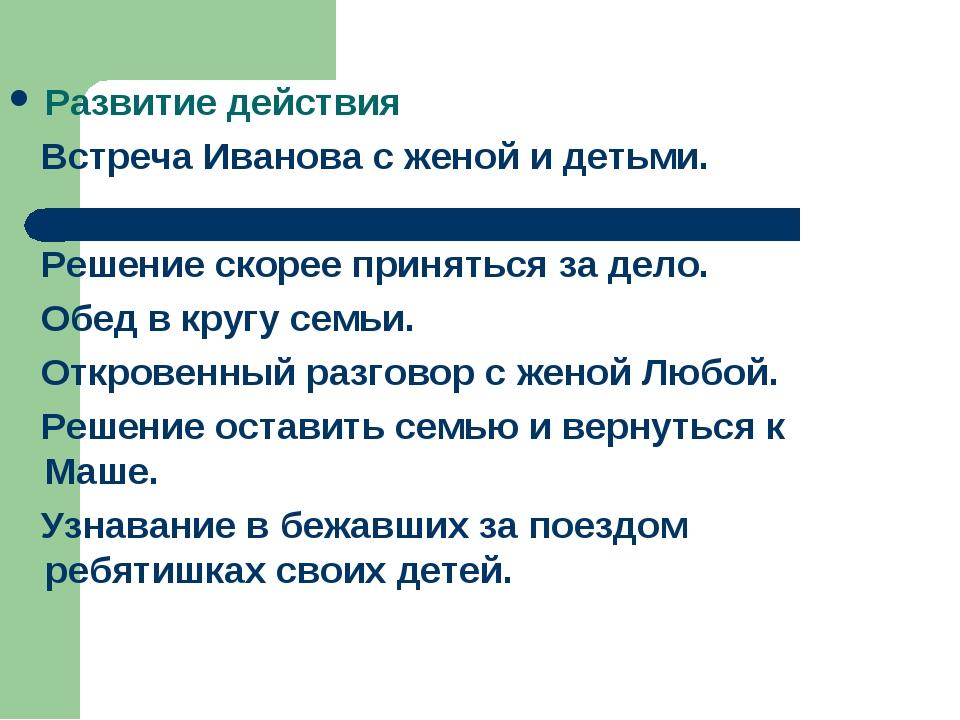 Развитие действия Встреча Иванова с женой и детьми. Решение скорее приняться...