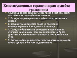 Конституционные гарантии прав и свобод гражданина 1. Каждый вправе защищать с