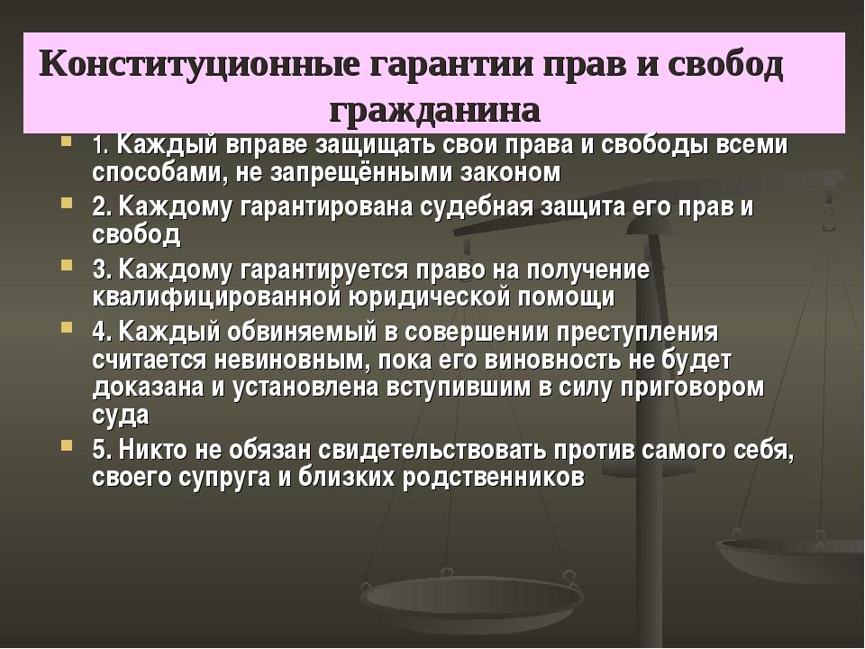 Конституционные гарантии прав и свобод гражданина 1. Каждый вправе защищать с...