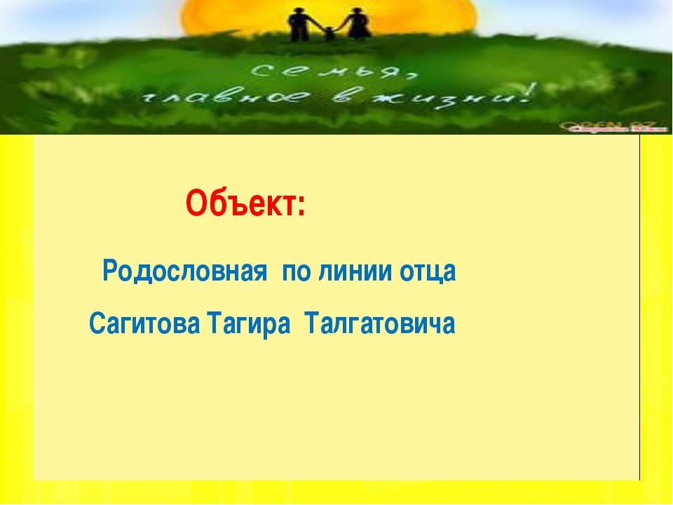 Объект: Родословная по линии отца Сагитова Тагира Талгатовича