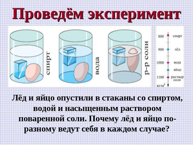 Проведём эксперимент Лёд и яйцо опустили в стаканы со спиртом, водой и насыще...
