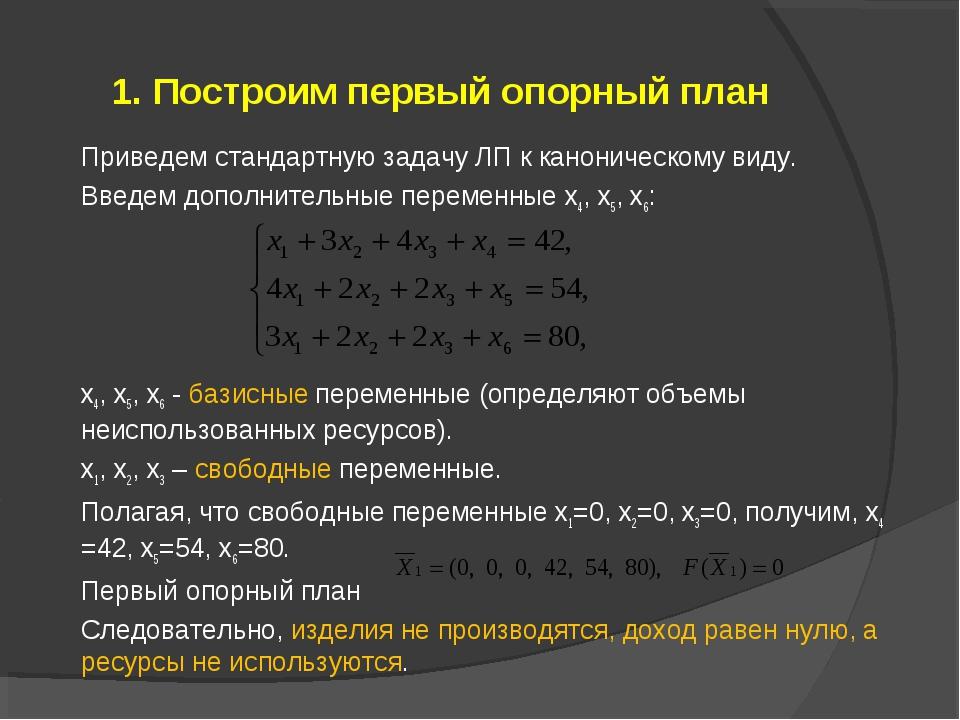 1. Построим первый опорный план Приведем стандартную задачу ЛП к каноническом...