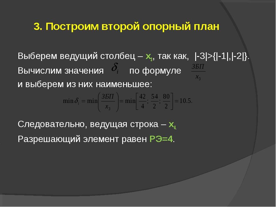 3. Построим второй опорный план Выберем ведущий столбец – x3, так как, |-3|>{...