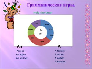 Help the bear! An A A tomato A carrot An apple A potato An apricot An egg A b