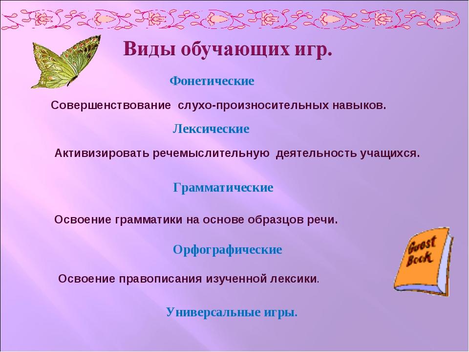 Фонетические Лексические Грамматические Орфографические Совершенствование слу...