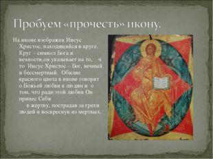На иконе изображен Иисус Христос, находящийся в круге. Круг – символ Бога и в
