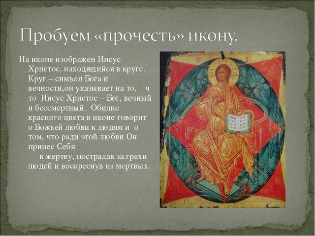 На иконе изображен Иисус Христос, находящийся в круге. Круг – символ Бога и в...