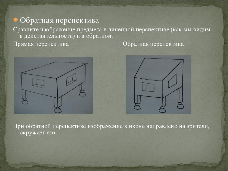 Обратная перспектива Сравните изображение предмета в линейной перспективе (ка...