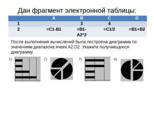 Дан фрагмент электронной таблицы: После выполнения вычислений была построена