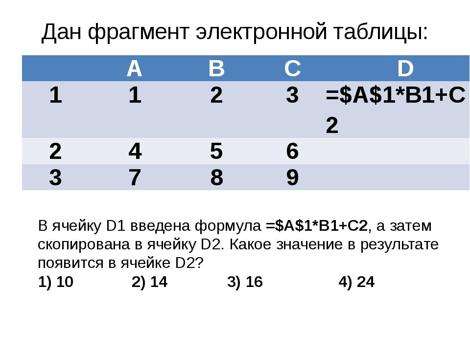 Дан фрагмент электронной таблицы: В ячейку D1 введена формула =$А$1*В1+С2, а...