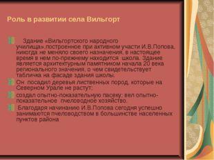 Роль в развитии села Вильгорт Здание «Вильгортского народного училища»,постро