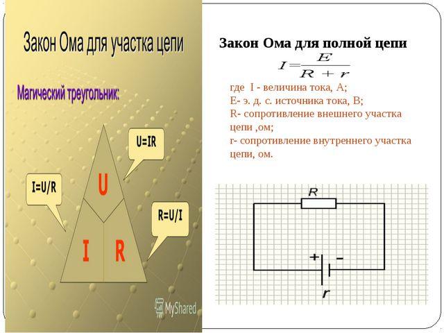 где I - величина тока, А; Е- э. д. с. источника тока, В; R- сопроти...