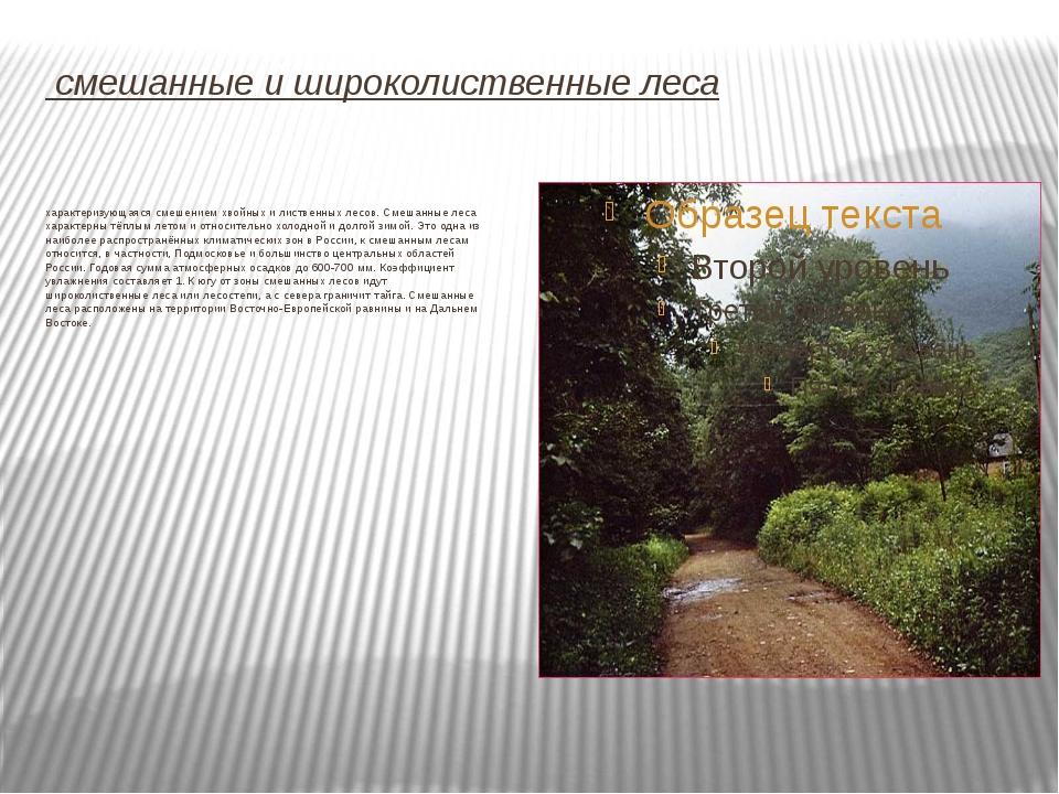 смешанные и широколиственные леса Зона сме́шанных (хво́йно-широколи́ственных...