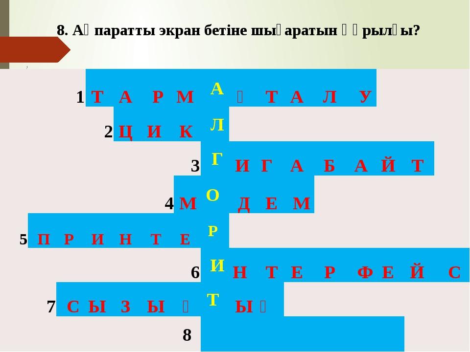 8. Ақпаратты экран бетіне шығаратын құрылғы? 1 Т А Р М А Қ Т А Л У 2...