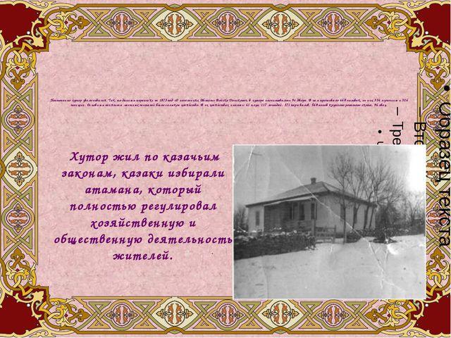 Постепенно хутор увеличивался. Так, по данным переписки за 1873 год «О населе...