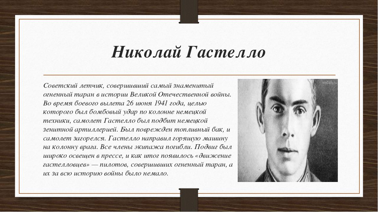 Николай Гастелло Советский летчик, совершивший самый знаменитый огненный тара...