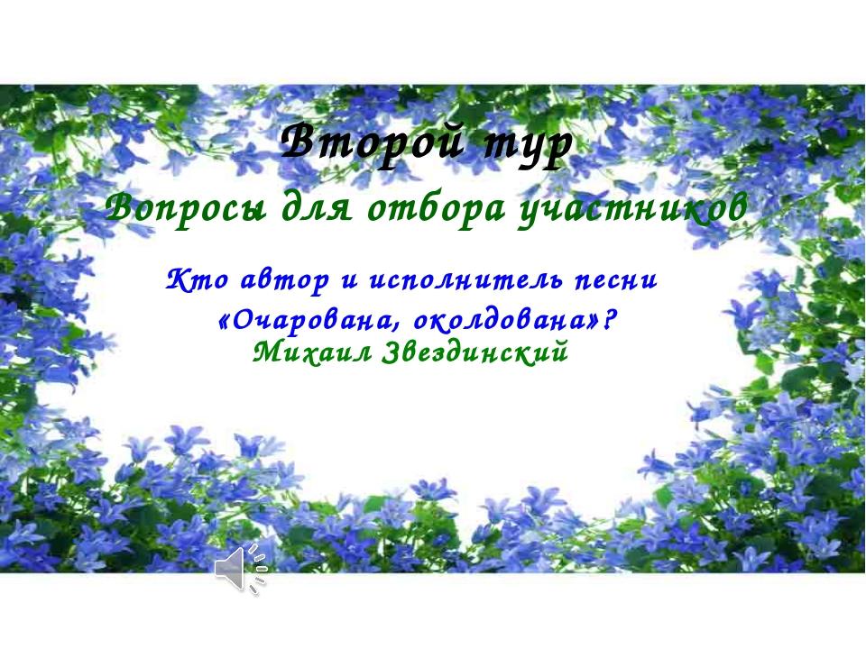 Второй тур Вопросы для отбора участников Михаил Звездинский Кто автор и испол...