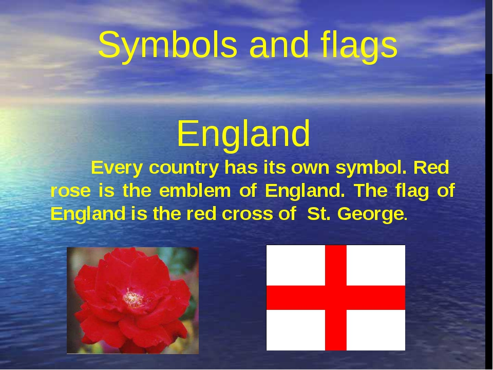 Every country has its own symbol. Red  rose is the emblem of England. The fla...
