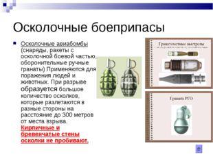 Осколочные боеприпасы Осколочные авиабомбы (снаряды, ракеты с осколочной боев